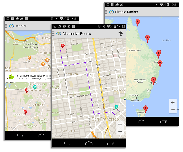 Android Map View - Intersoft Crosslight - Intersoft