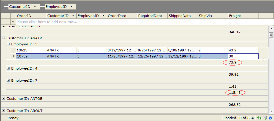 Aggregating Data in WebGrid - Intersoft WebUI - Intersoft