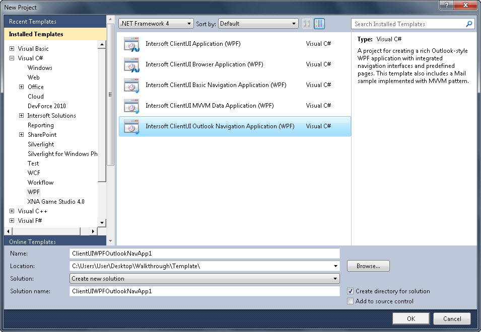 Walkthrough: Create New Intersoft ClientUI Outlook-style Navigation