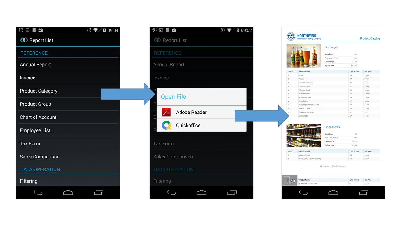 Android Report Viewer - Intersoft Crosslight - Intersoft